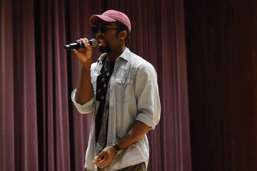 Ike Ihemeson performs an original song at Lift Ev'ry Voice. The Vertigo Productions event focused on showcasing black student work to commemorate MLK's legacy.