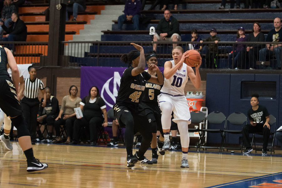 Lindsey Pulliam pulls up for a jump-shot. The freshman guard leads Northwestern in scoring with an average of 14 points per game.