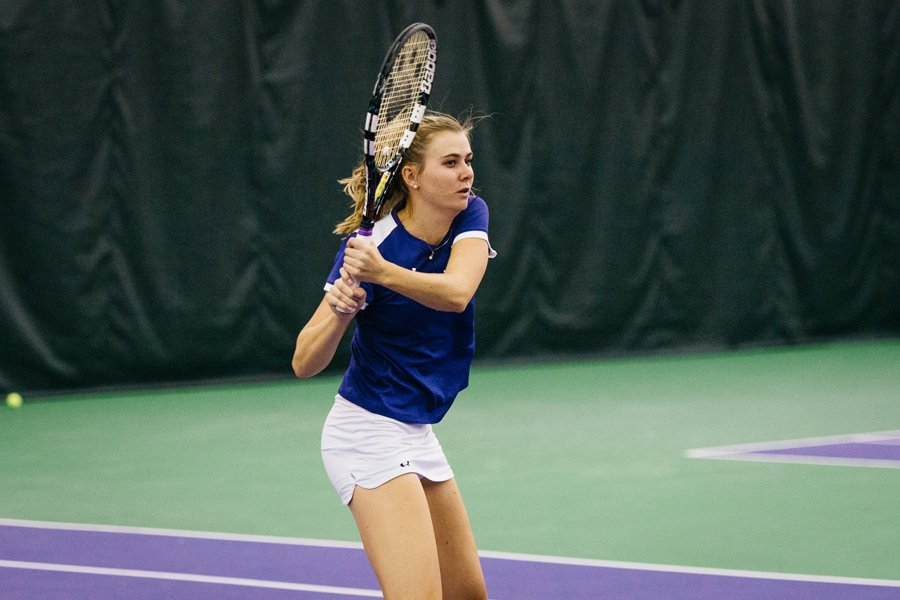 Erin Larner strikes a backhand. The senior helped the Wildcats cruise to two easy victories over the weekend.