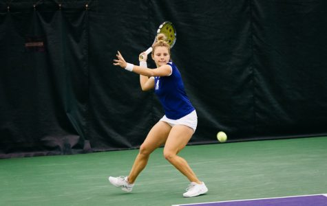 Alex Chatt prepares to strike a forehand. The senior lost her only singles match of the weekend against UCLA.