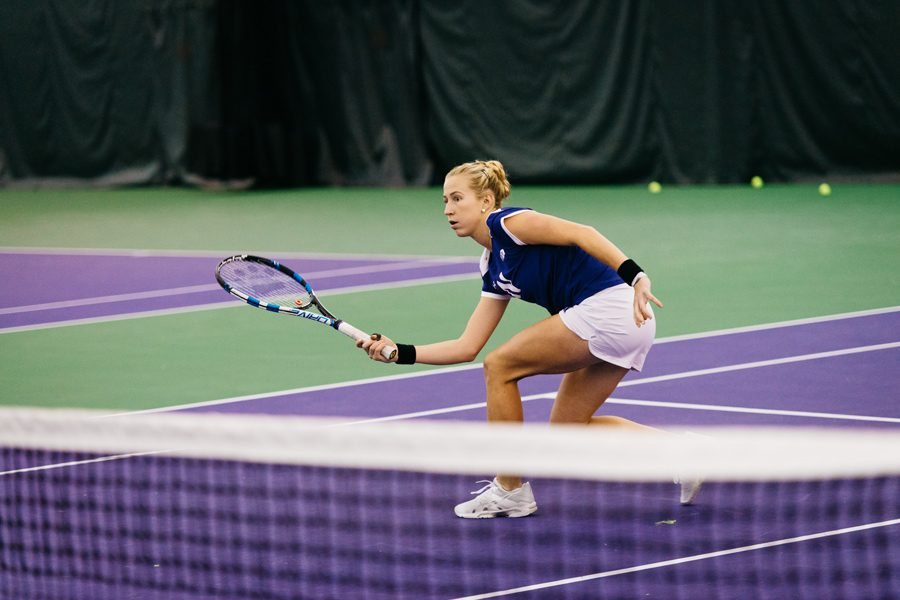 Maddie+Lipp+prepares+to+hit+a+volley.+The+senior+is+hoping+the+team+wins+both+of+its+matches+this+weekend+to+qualify+for+the+ITA+Championship.