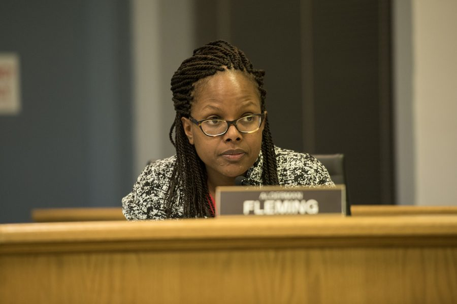 Ald.+Cicely+Fleming+%289th%29+listens+at+city+council.+The+achievement+gap+in+District+65+widened+in+2017+according+to+the+Achievement+and+Accountability+Report.