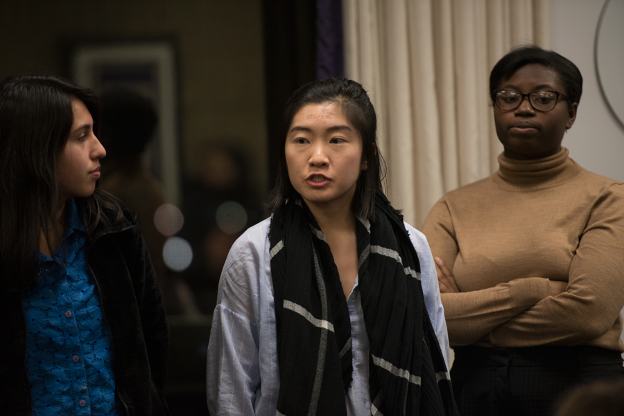 Weinberg junior Jessica Wang speaks in support of a resolution for Latinx and Asian American Studies departments. Wang and other members of the Latinx Asian American Collective attended Associated Student Government's Wednesday Senate meeting.