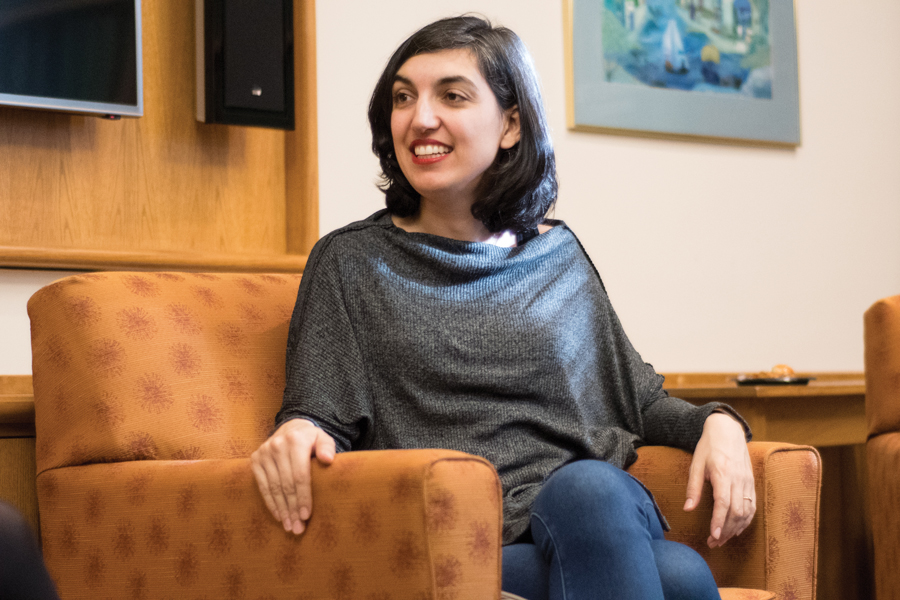 "Turkish author Elif Batuman speaks Monday at University Hall. Batuman talked about how she turned her life experiences into her fictional novel, ""The Idiot."""