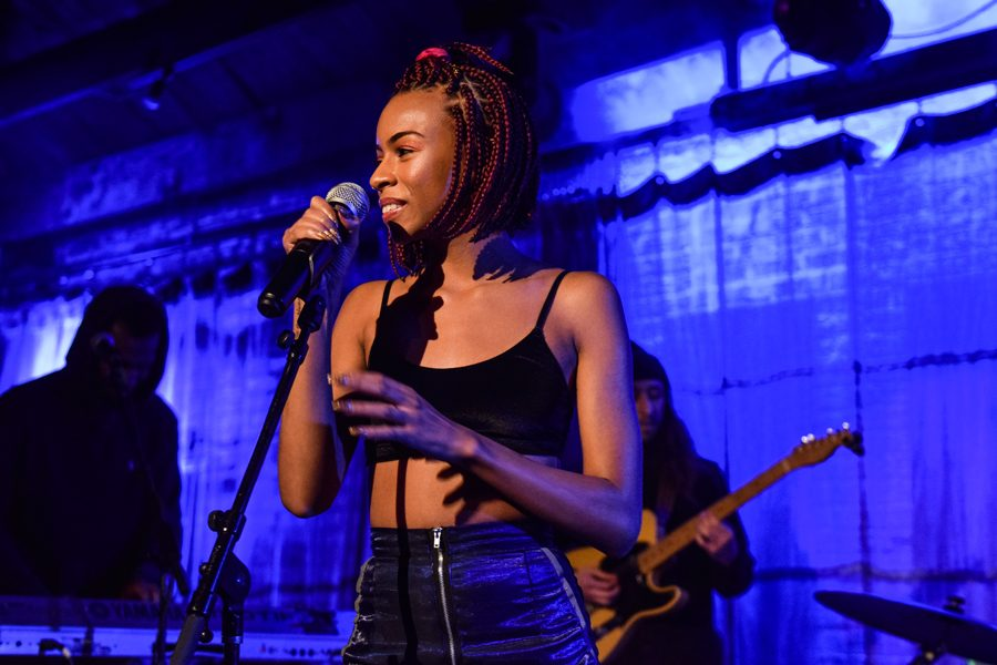 Chicago-based+artist+Ravyn+Lenae+looks+at+the+crowd%2C+making+eye+contact+with+fans+only+a+few+inches+away.+Lenae%2C+along+with+Knox+Fortune%2C+performed+at+SPACE+Thursday+night.+