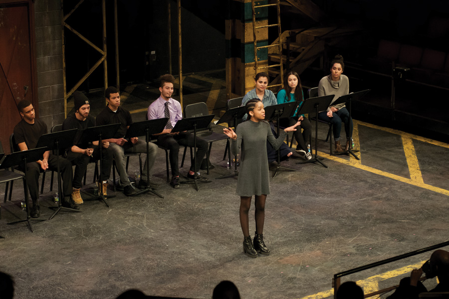 """Communication junior Ziare Paul-Emile performs at the 2017 """"Black Lives, Black Words"""" event. This year's production will add a food drive and performances by the Northwestern Community Ensemble and a cappella group Soul4Real."""
