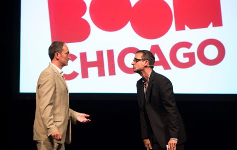 Pep Rosenfeld and Andrew Moskos perform with Boom Chicago. The group's founders have made the comedy troupe an international force, and hold the honor of being the only visiting group to have performed on the Second City mainstage in Chicago.