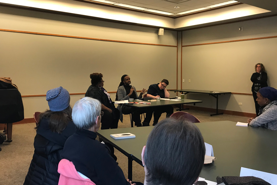 "Panelists speak at Evanston Public Library's discussion on identity and injustice. The panel was the first event in a 10-week program called ""Evanston Reads: Citizen."""
