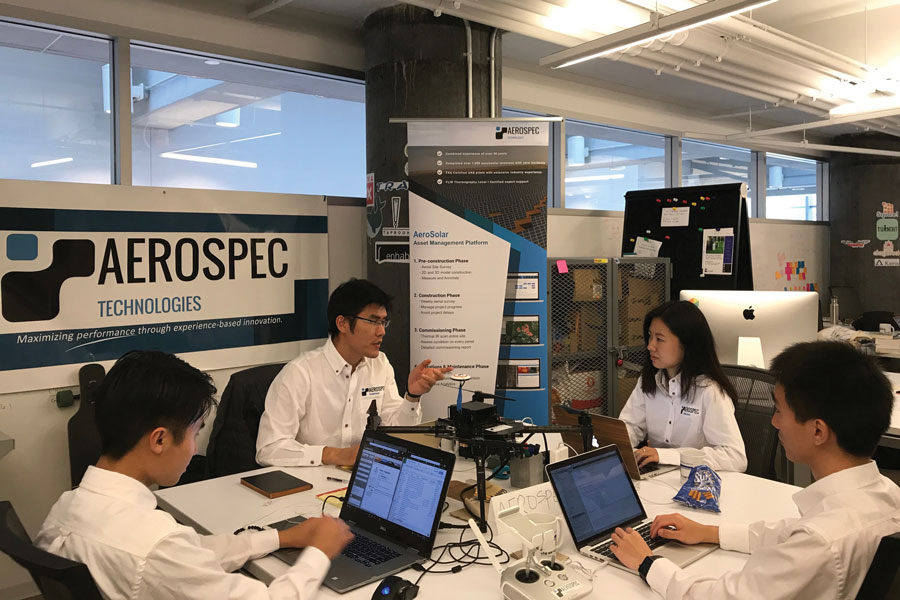 The Aerospec Technologies team works on clean energy solutions. Aerospec, which got its start at The Garage, is a finalist in the Cleantech University Prize competition.