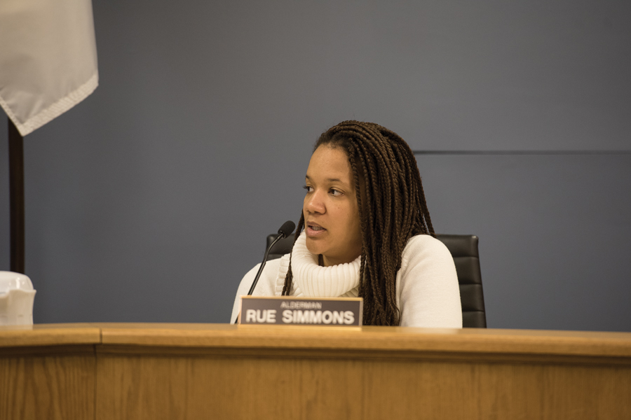 "Ald. Robin Rue Simmons (5th) speaks at a meeting. Rue Simmons said she planned to encourage all neighborhoods who did not have a ""block club"" —  a group of neighbors who make sure the block is safe by sharing information and identifying potential concerns — to form one."