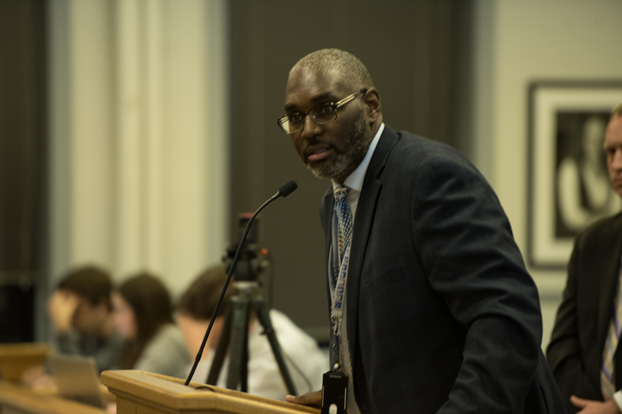 Director of parks, recreation and community services Lawrence Hemingway speaks at Monday's City Council meeting. Hemingway said the department's website crashed over the weekend due to too much traffic.