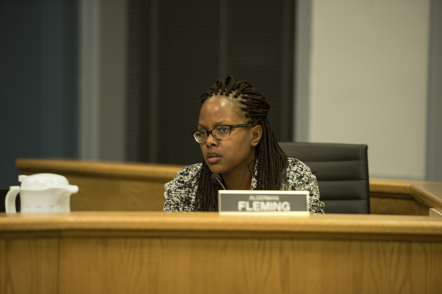 Ald. Cicely Fleming (9th) speaks at a meeting. Fleming spearheaded efforts to update the city's hiring policy regarding applicants with a criminal record.