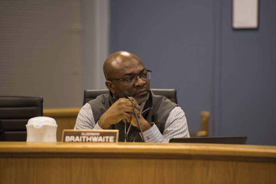 Ald. Peter Braithwaite (2nd) ruminates. Aldermen voted 7-1 to approve a special use permit for a special education high school, which would serve students with a variety of behavioral and emotional needs.t