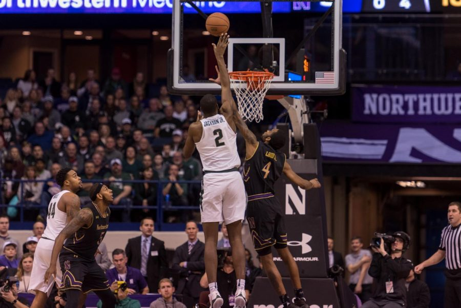 Michigan+States+Jaron+Jackson+goes+up+for+a+shot.+The+Spartans+star-studded+cast+of+players+helped+it+rally+back+against+Northwestern+on+Saturday.
