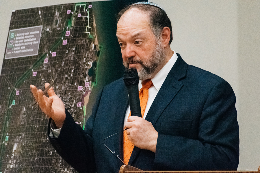 Robert Matanky speaks at a community meeting. Matanky said the expansion of an eruv into Evanston would draw more practicing Jewish families to Evanston.