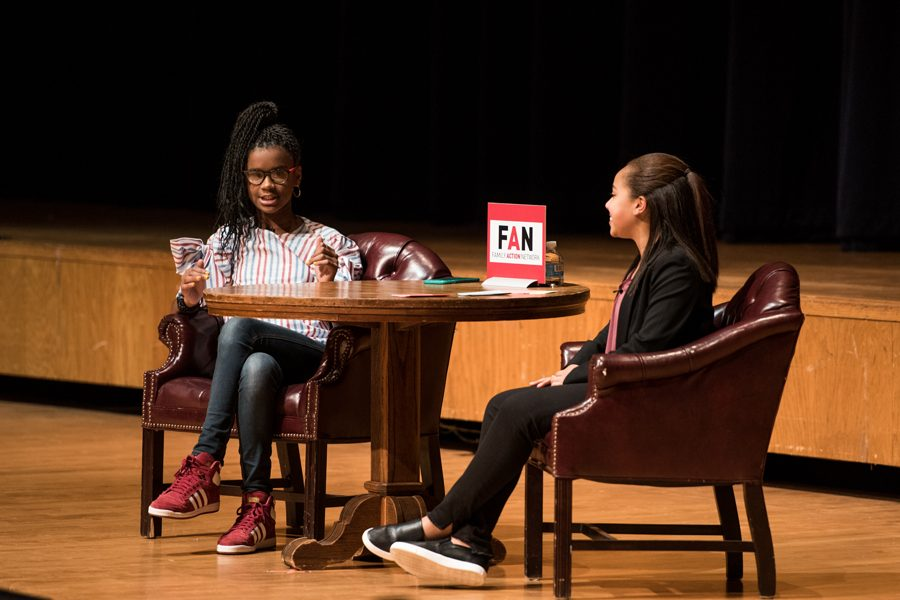 Marley+Dias%2C+a+13-year-old+author%2C+speaks+at+Evanston+Township+High+School+with+Evanston+eighth-grader+Taryn+Robinson+on+Thursday.+Dias+spoke+about+her+recently+published+book+and+her+social+media+campaign.+