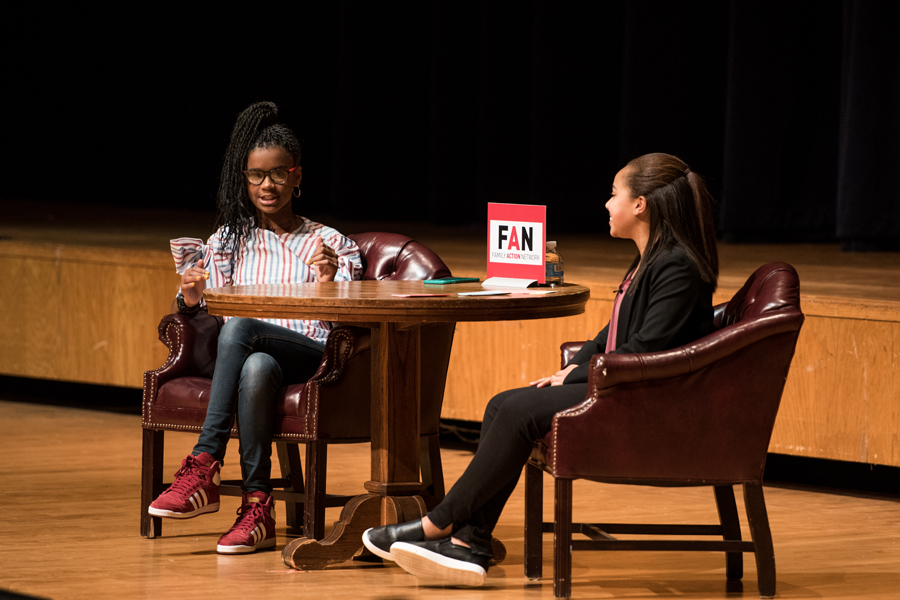 Marley Dias, a 13-year-old author, speaks at Evanston Township High School with Evanston eighth-grader Taryn Robinson on Thursday. Dias spoke about her recently published book and her social media campaign.