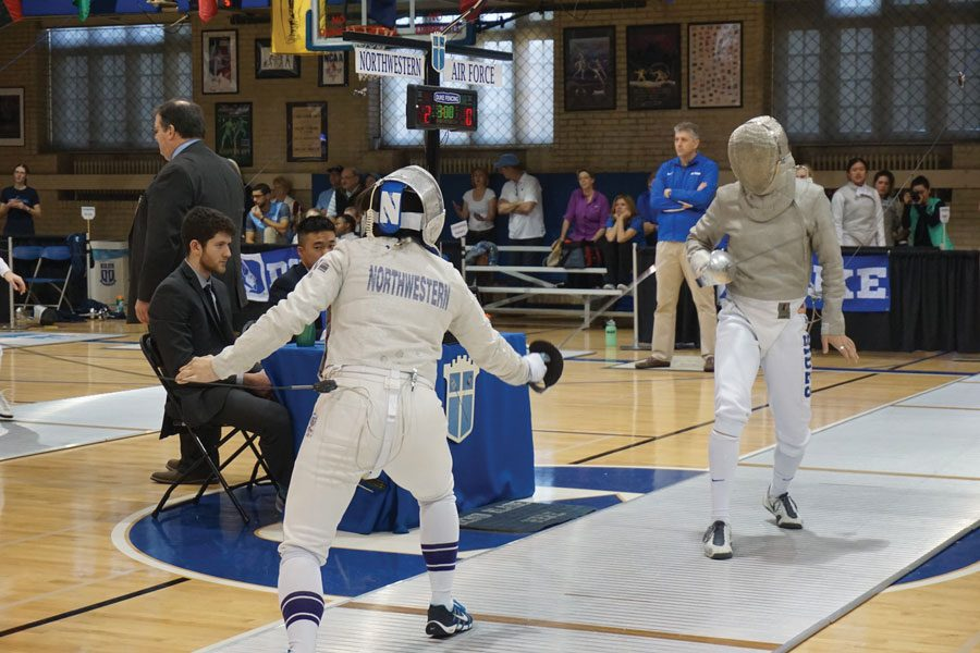 A+Northwestern+fencer+prepares+to+square+off+with+an+opponent+from+Air+Force.+Six+Wildcat+fencers+competed+in+the+Junior+Olympics+over+the+weekend.