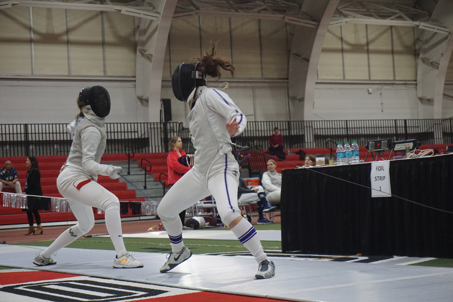 A Northwestern fencer makes some moves on the strip. The Wildcats set the team record for wins at NU Duals last weekend.