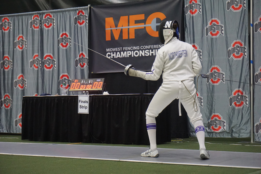 A Northwestern fencer prepares to attack. The Wildcats won their second MFC title in three seasons this weekend.