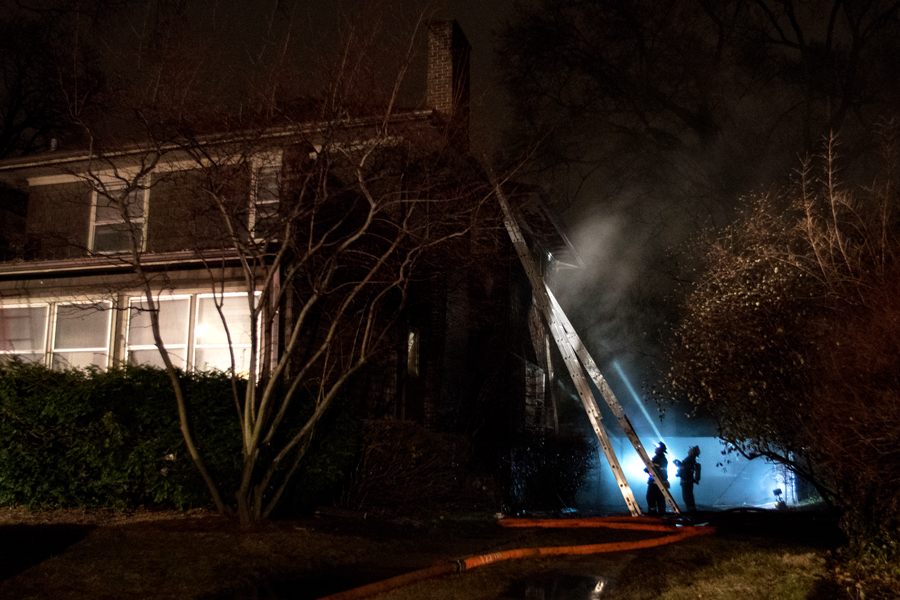 A fire breaks out in a garage in the 600 block of Ridge Avenue. Evanston Fire Department prevented the fire from engulfing the residence.