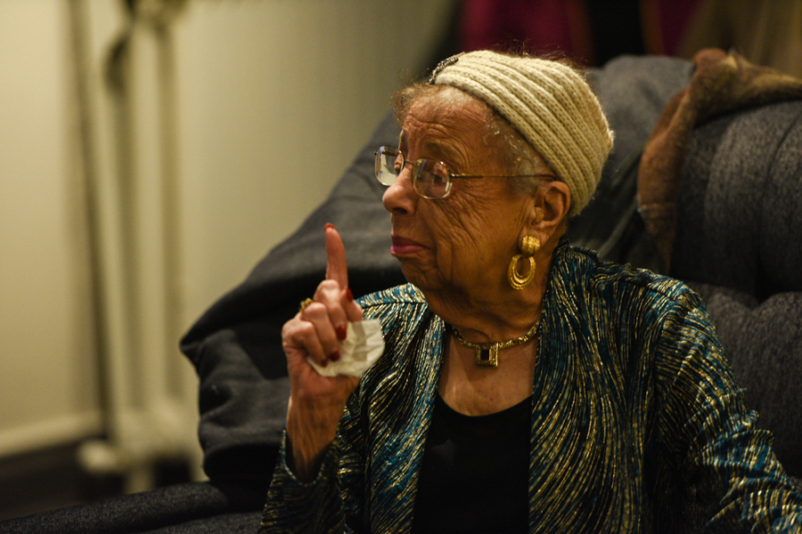 Former Evanston mayor Lorraine H. Morton speaks at an event. The event featured 'Black Evanstonian historymakers.'
