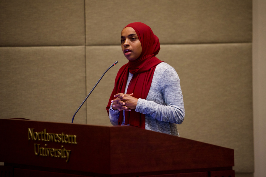 "Bilqis Abdul-Qaadir speaks as part of Discover Islam Week. Abdul-Qaadir, the founder of the ""Muslim Girls Hoop Too"" campaign, was prohibited from playing basketball internationally for wearing a hijab."