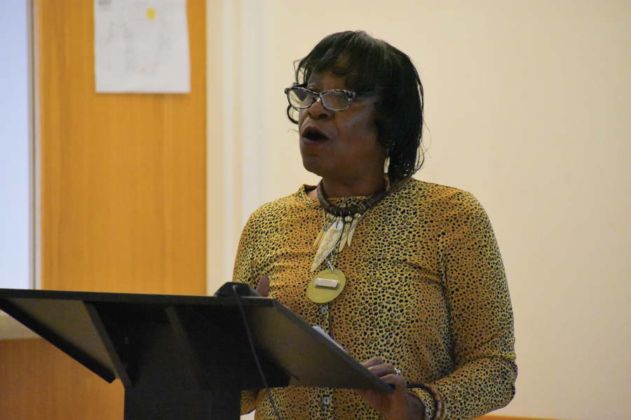 Willie Shaw speaks at an event hosted by the NAACP's Evanston chapter. She called for legal reform to end the mass incarceration of young black men.