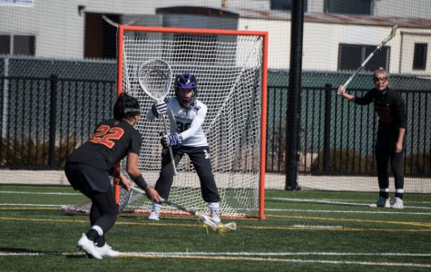 Julie Krupnick prepares to face a free-position shot. The redshirt freshman goalie allowed only five goals in Sunday's win over USC.