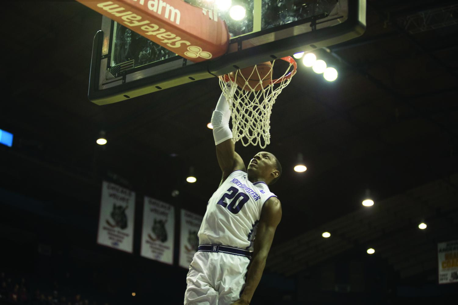 Scottie Lindsey finishes a layup.Northwestern lost its fourth straight game Monday as the Wildcats saw another early lead fall.