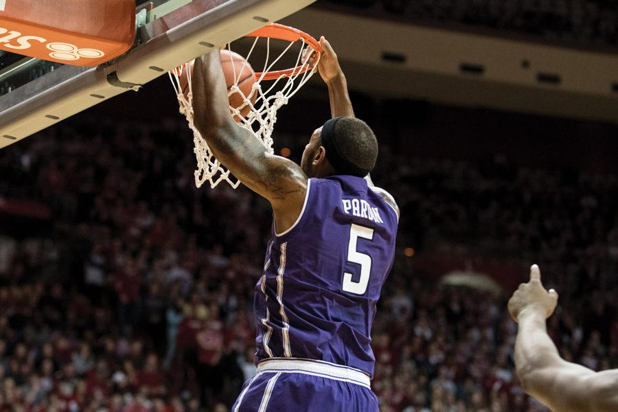 Dererk+Pardon+throws+down+a+dunk.+The+junior+center+had+17+points+on+8-of-8+shooting+against+the+Badgers.