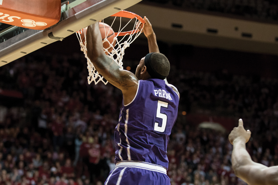 Dererk Pardon throws down a dunk. The junior center had 17 points on 8-of-8 shooting against the Badgers.