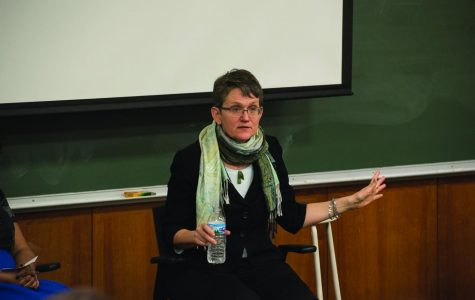 Journalist E.J. Graff speaks at an event Monday. In the presentation and Q&A, Graff addressed the historical precedents and future possibilities for the #MeToo movement.