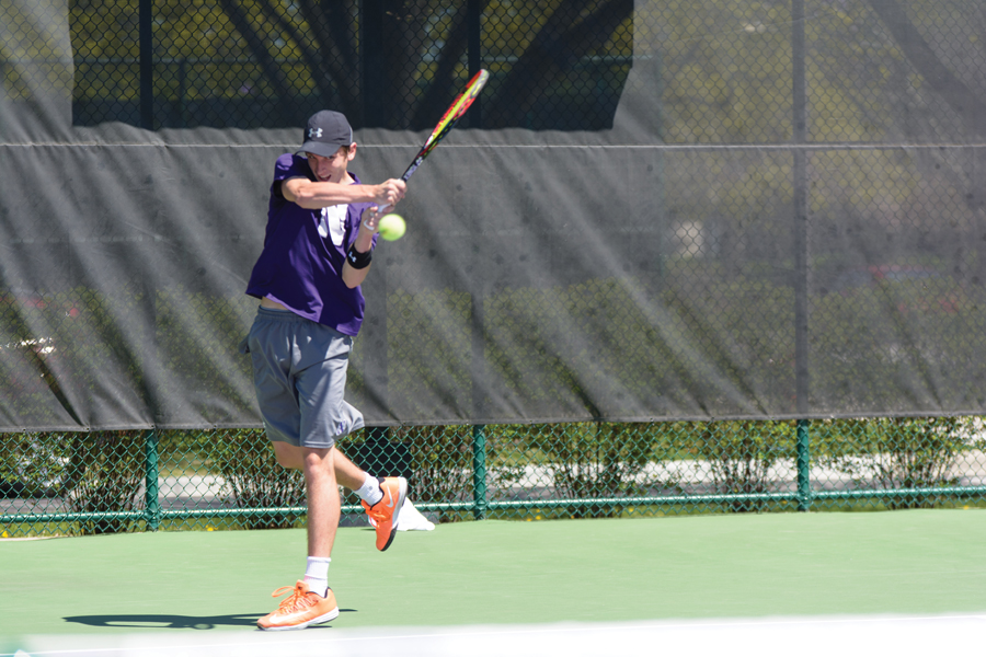 Ben Vandixhorn follows through on a backhand. The junior and the Wildcats had a tough time Sunday against Duke.