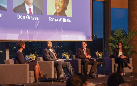 Former White House staffers Don Graves, Roy Austin, Tonya Williams speak at a Tuesday event moderated by NU alumna Dorothy Tucker. The group spoke about gun control and tax reform.
