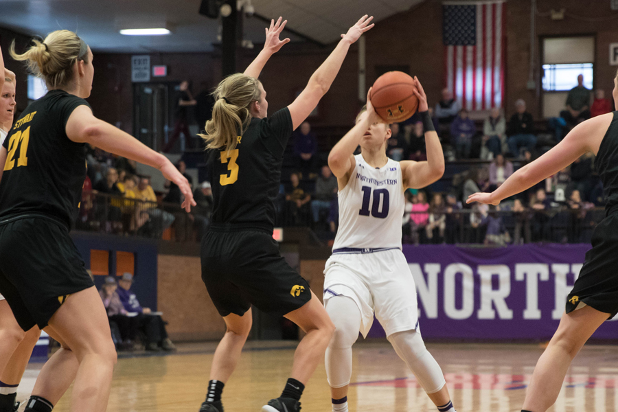 Lindsey Pulliam rises up for a shot. The freshman guard played 39 minutes and scored 11 points against Iowa.