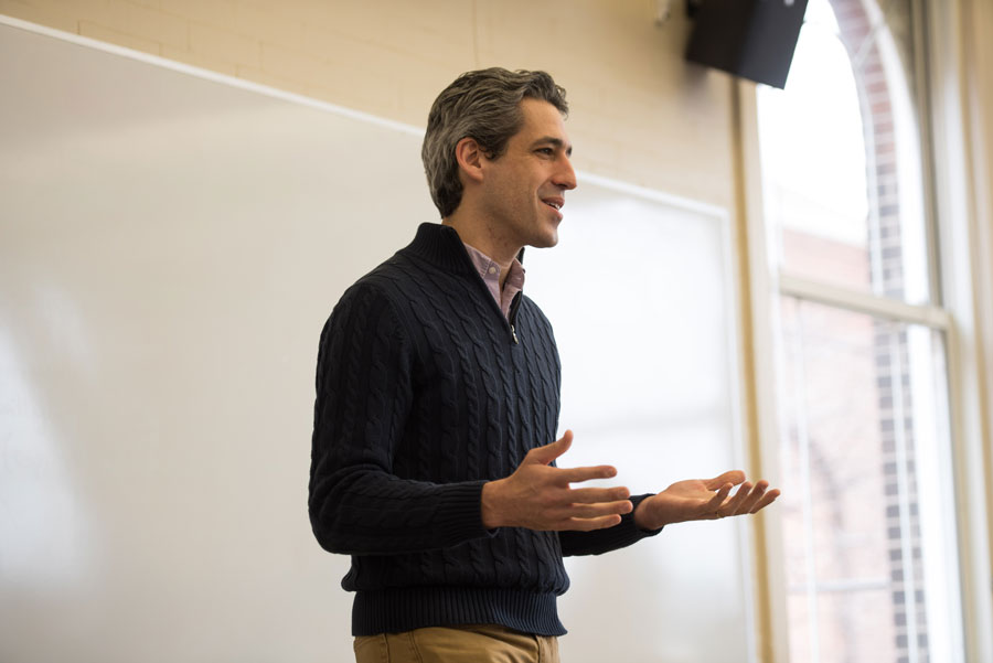 "State Sen. Daniel Biss (D-Evanston) speaks at an event. Biss said on Twitter that ""thoughts and prayers aren't enough"" in the wake of the school shooting in Parkland, Florida."