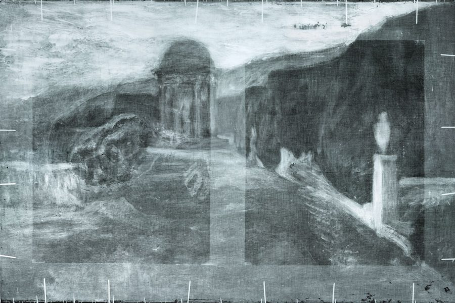 "An X-ray of Pablo Picasso's ""La Miséreuse accroupie"" reveals a landscape hidden beneath the surface. Northwestern researchers were part of the NU-ACCESS team that discovered the hidden landscape."
