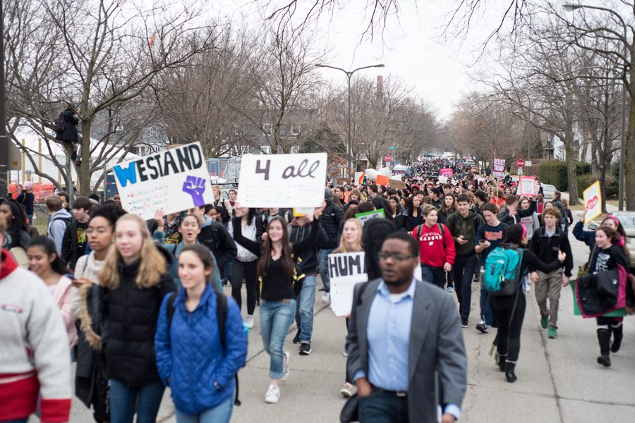 Students+at+Evanston+Township+High+School+protest+President+Donald+Trump%27s+inauguration+last+winter.+ETHS+students+are+planning+a+walkout+in+support+of+gun+control+on+March+14.