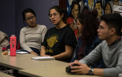 Yakira Mirabito speaks to a group of peers at a Quest Scholars Network town hall Thursday. Mirabito said students can generate resources if they voice their concerns regarding financial barriers.