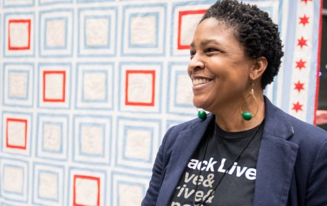 Evanston artist Melissa Blount. Blount hosted a quilt making circle to honor the lives of black women and girls lost to interpersonal violence.