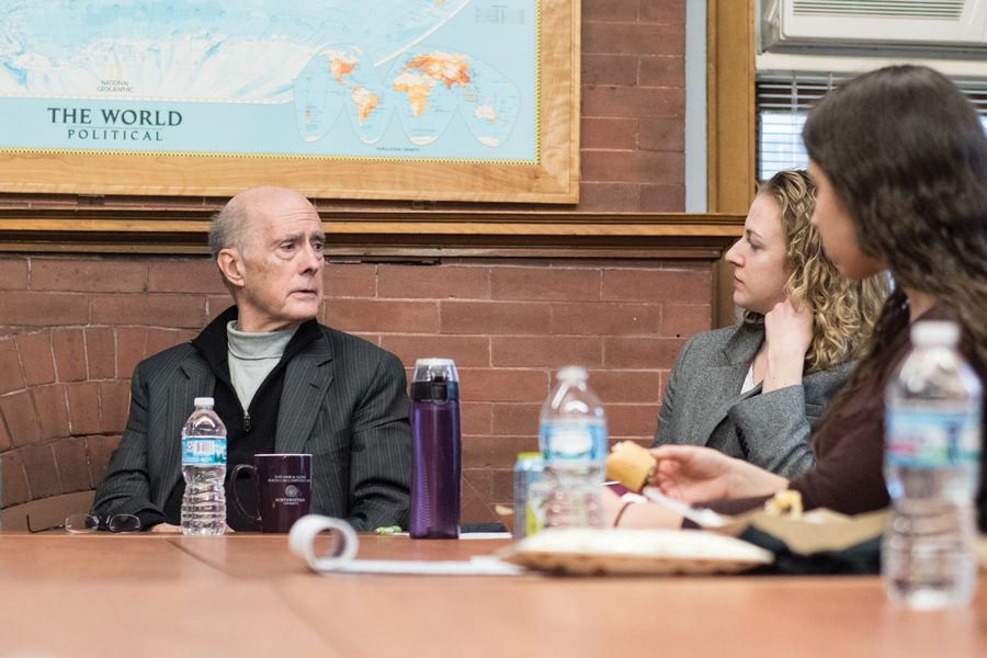 Former Deputy Secretary of State Strobe Talbott speaks to students Wednesday at the Buffett Institute for Global Studies. Talbott discussed the current U.S. relationship with Russia.