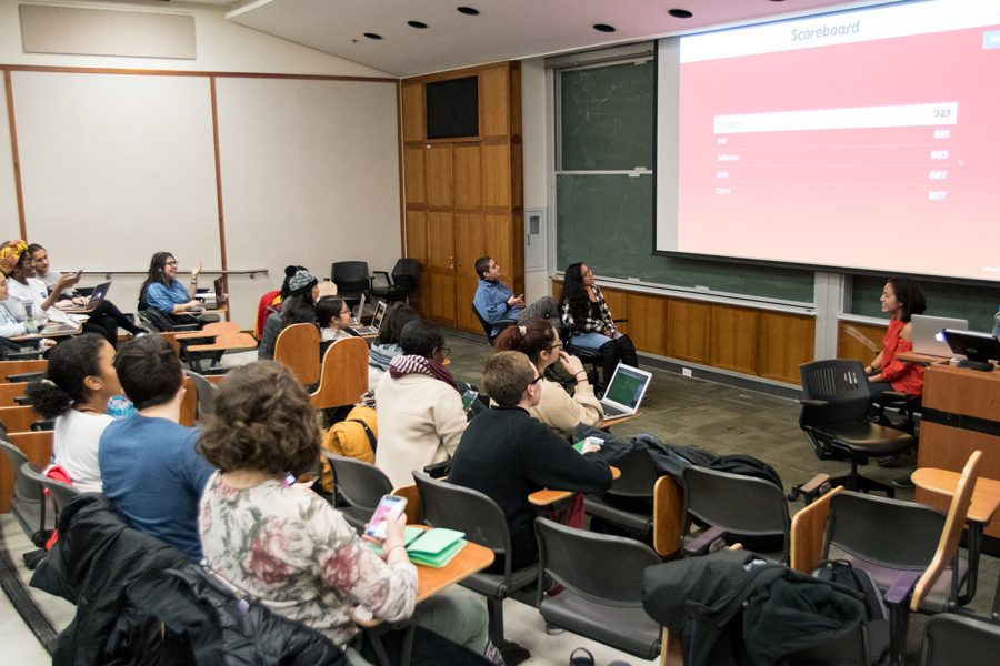 Students at a teach-in hosted by the Latinx Asian American Collective play Kahoot as an introduction to their discussion. The Collective introduced a published proposal for the Latina and Latino Studies Program and the Asian American Studies Program to become departments within the University.