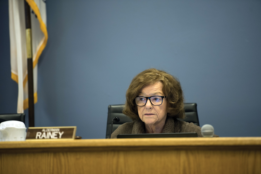 Ald. Ann Rainey (8th) listens at a city council meeting. Rainey pleaded with aldermen to permit the city manager to approve the construction contract for Howard Street Theater.