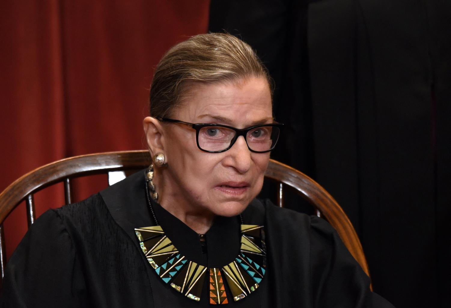 Justice Ruth Bader Ginsburg at the Supreme Court building. Ginsburg said without mandated fees in place, unions would have diminished resources.