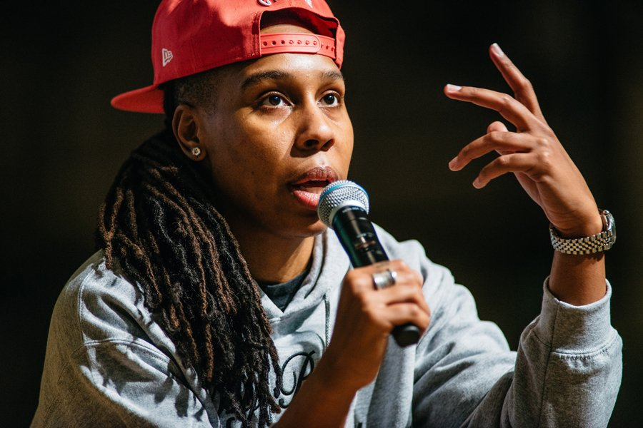 "TV writer and actress Lena Waithe speaks at an event in Ryan Auditorium Thursday. In September, Waithe became the first black woman to win an Emmy for comedy series writing for an episode she wrote for Netflix series ""Master of None."""