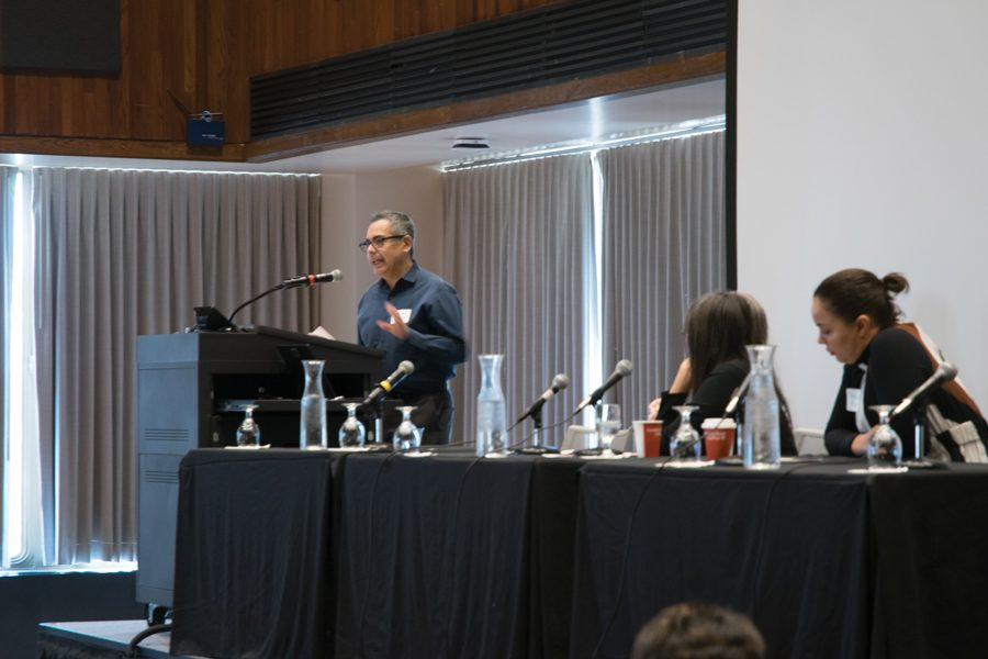 "Sociology Prof. Hector Carrillo speaks Wednesday at the Women's Center symposium. The event, which was themed ""Critical Intersections,"" brought faculty and alumni to speak in honor of the Center's 30th anniversary."