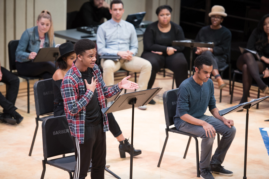 "Communication senior Robert Cunningham performs ""What's in a Name?"" with fellow students Grant Lewis and Ziare Paul-Emile. The play was part of the production ""Black Lives, Black Words,"" which featured original works by students."