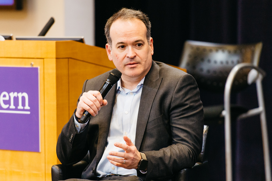 Wall Street Journal executive editor Matt Murray speaks at the McCormick Foundation Center. The Medill alumnus spoke about journalism in the modern age at the Wednesday event.