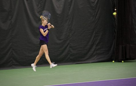 Maddie Lipp swings through a backhand. The senior played a key role in the Wildcats' win over No. 7 Vanderbilt